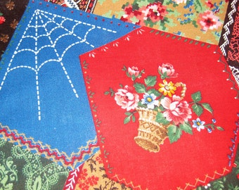 Vintage Cotton Fabric - PATCHWORK Quilt Lace and Flowers - Yardage - Red Green Blue - Cranston Print Works