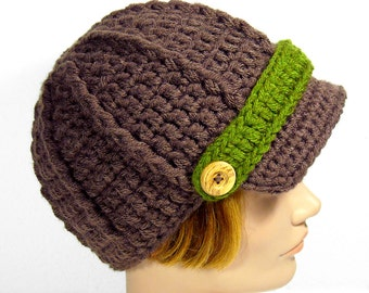 Green and Brown Newsboy Hat with Visor, Men's or Women's Beanie
