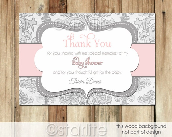 girl baby shower thank you card pink and gray damask grey printable