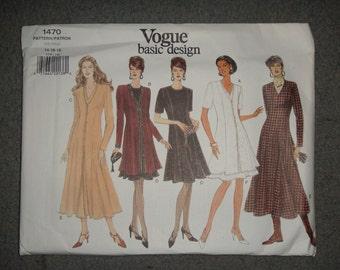 Vogue Pattern 1470 Womans Long and Short Dress 14 through 18 NEW Uncut