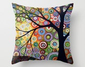 "Decorative throw pillows cover tree art ... from my original abstract landscape painting, ""Visions of Night"" ... 16"" x 16"""