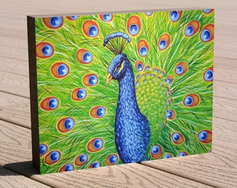 "Art print ...8 x 10 print mounted on cradled birch panel...ready to hang....""Splendor"", peacock art"