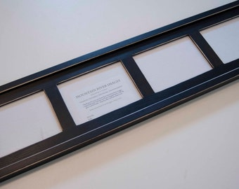 MULTI 4 Opening 5x7 distressed pine collage Frame holds 4 5x7's in landscape position ...black...HANDMADE