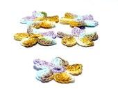 Crochet Applique Mini Flower Motif Flower Embellishment Crochet Flower Applique Crochet Motif Yellow Violet Brown Blue Crochet Flower Motif