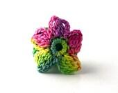 Crochet Ring Fiber Ring  Flower Applique Yellow Green Pink on Emerald Green Band