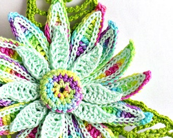 Crochet Brooch Fiber Brooch Granny Floral Pin Daisy Brooch Yellow Spring Green Light Fuchsia Light Purple Crochet Flower Pin Flower Brooch