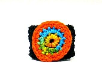 Crochet Ring Fiber Ring Orange Brown Yellow Blue Crochet Circle Applique On A Black Band