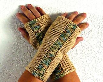 Knit Fingerless Gloves Beige Gloves Winter Accessories Womens Tan Winter Gloves Warm Gloves Cable Fingerless Gloves Texting Gloves