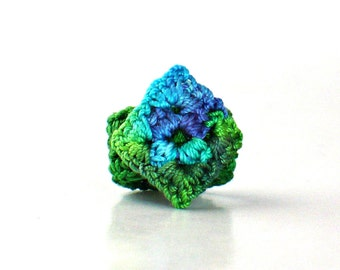 Crochet Ring Fiber Ring  Miniature Granny Square Ring Blue and Green