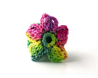Crochet Ring Fiber Ring  Flower Applique Yellow Green Pink on Emerald Green Band