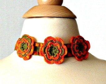 Crochet Necklace Irish Lace Crochet Flower Orange and Olive Green Roses With Satin Ribbon Choker