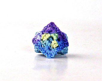 Crochet Ring Fiber Ring  Miniature Granny Square Blue Yellow Purple Blue Band
