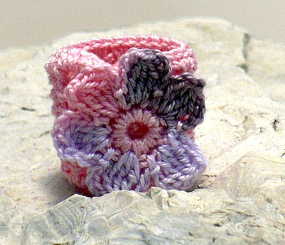 Crochet Ring Fiber Ring  Flower Applique Pink Brown Wisteria on Pink Band