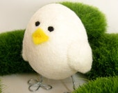 Needle Felted Bird - White Wool Felted Chick - Easter Decoration - Branch