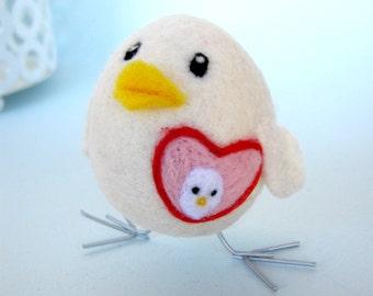 Heart's child - Foster Mom - Needle Felted Bird - Wool Felt