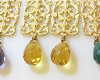 Gold filigree and crystal drop earrings. Your choice of color. ELEGANCE