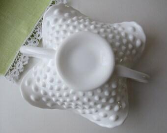 Vintage Fenton Milk Glass Hobnail Bonbon, Milk Glass Bowl, Serving Bowl