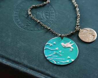 4 in 1 Reversible Painted Cherry Blossom Tree With Bird and Moon Brass Necklace