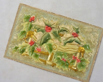 Vintage 3-D Post Card with Fur and Embossed Celluloid Decoration