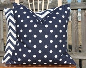 Navy and White Dot Pillow Cover
