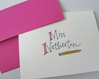 Teacher or Graduate Gift:  Set of 10 Handwritten Notecards