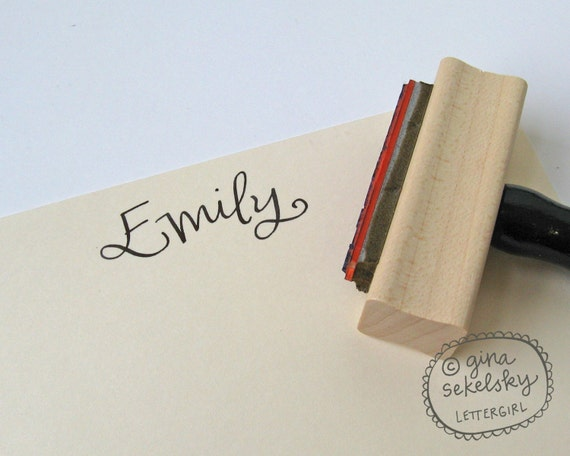 Handwritten Name Stamp: your choice of self-inking or red rubber