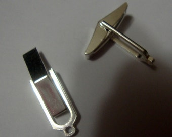 Cufflink backs ready for beading  or wire wrapping - solid  eco friendly sterling silver recyled sources - 1 pair