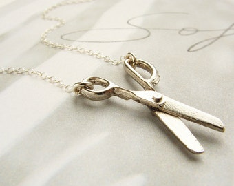 silver scissor necklace - miniature movable scissor sterling silver necklace