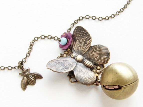 Butterfly and Bee Locket necklace, vintage enamel flower dangle vinage sphere locket, antiqued butterfly necklace