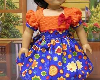 Primary Blooms - vintage style dress for American Girl doll
