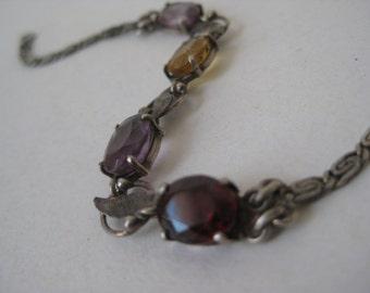 Red Gold Amethyst Stone Bracelet Sterling Silver Vintage 925