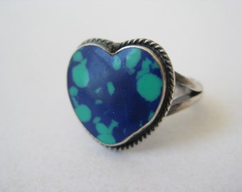 Heart Blue Green Ring Sterling Silver Stone Vintage Size 4 1/2 925