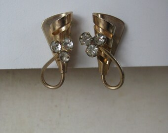 Gold Rhinestone Earrings Screw Vintage Clear Modern