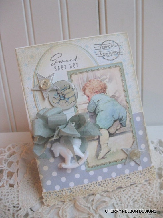 Vintage Baby Card Baby Boy Card Baby Shower Card Handmade