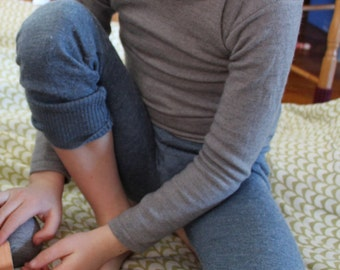 Wool Kids Long Undershirt - Long Sleeved Merino - Custom SONGLARK Sizes 2 to 6 T