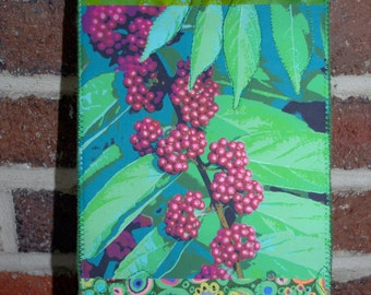 Grapes Mini Quilt Fabric Post Card Note Card Gift Card