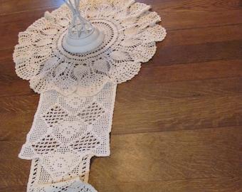 Wedding Table Runner, Farmhouse ,Cottage Chic, Long Doily table runner