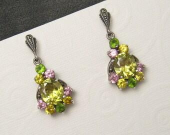 Sterling Marcasite Jewelry Set Long Earrings Pendant S5345