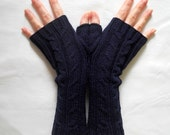 Hand knitted Merino blend fingerless gloves with cable knit pattern in Midnight Blue