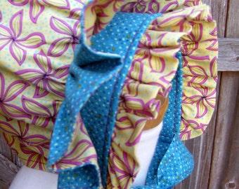 OOAK -  Floral Ruffled Baby Bonnet