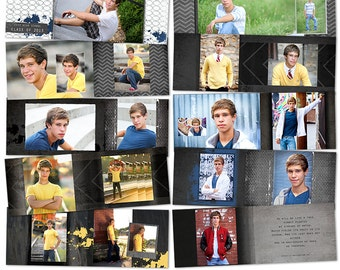 Jacob 7x10 WHCC Album Template for Senior Guys - Photoshop Templates for Photographers - AS2001