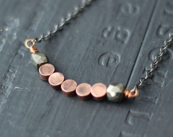 Rustic Pyrite and Copper Necklace  Geometric, Rustic, Boho  Mixed Metals, Oxidized Silver, Metallic