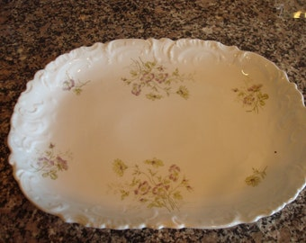 Very nice vintage white platter with embossed edge and purple/lavender floral transfereware design- Austria