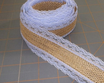 Periwinkle Lace with Burlap Ribbon - 1.5 inch x 3 yards
