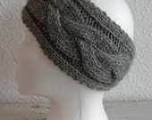 Luxurious ear warmer, pure baby alpaca, medium gray, ready to ship