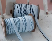 3 yards of Blue Vintage Trim -  60s 70s New Old Stock Woven Scalloped Bias Edging Doll Making Blues