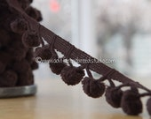 1.75 yards Big Chocolate Brown -  Mod Vintage Pom Poms Ball Fringe 60s 70s New Old Stock