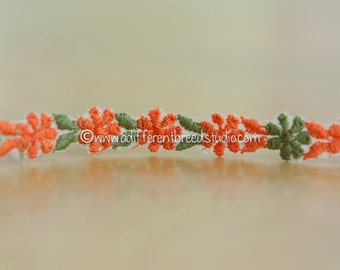 Dainty Mod Orange Daisies - 3 yards Vintage Fabric Embroidered Trim Juvenile 60s 70s New Old Stock
