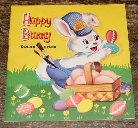 Sale Vintage unused Happy Bunny coloring book Colorful Cover