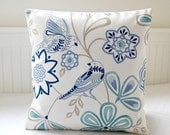 birds decorative pillow cover, blue teal navy flowers cushion cover 16 inch